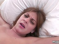 Teenage babe likes devoted inamorato's long ramrod in her pussy more then cold dildo 9