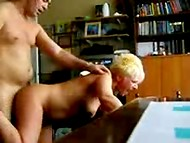Buddy fucks his short-haired mature wife from behind in front of the stationary camera