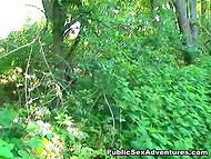 Teenage tootsie isn't shy to suck cameraman's phallus on a forest path 4