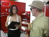 Bug-eyed monster caught seductive young lady in the garage and humiliated her mouth 9