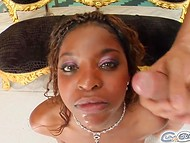 Ebony woman of easy virtue gets down on the knees and sucks a lot of white dicks 10