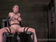 Two big-boobied slaves were tied to the sex-machines and punished with low-voltage 11