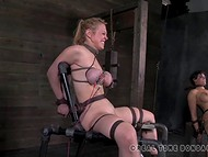Two big-boobied slaves were tied to the sex-machines and punished with low-voltage 6