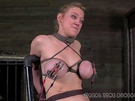 Two big-boobied slaves were tied to the sex-machines and punished with low-voltage 8