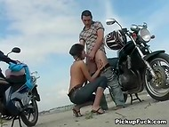Russian chick paid with her skilled mouth to a fellow for the ride on the motorcycle