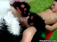 Teenage brunette with frail body got pussy filled with cum after sex with panda 9