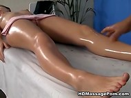 Honey became excited from black masseur's touches and started to suck his cock 4