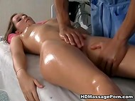 Honey became excited from black masseur's touches and started to suck his cock 7