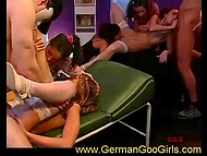 Lesbian spree turned into real German orgy when fat trunks came in the beauty salon 11