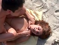Bulgarian macho fucked teenage girlfriend's pussy and ass during sunbathing at the beach 9