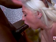 Light-haired nymphomaniac caught a muscular Ebony man in the public toilet 7