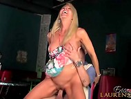 Blonde Erica Lauren succumbed to lust and began servicing young boy's pecker
