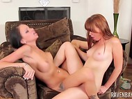 Engaging Raven Bay and her red-haired friend taking pleasure in licking each other's peach