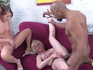 Teenage babe and blonde madame getting blacked by naughty male with gigantic pecker 7
