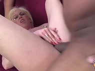 Teenage babe and blonde madame getting blacked by naughty male with gigantic pecker 8