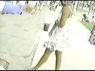 Spy camera shows everything is hidden under the skirts: sweet buttocks, panties, and juicy pussies