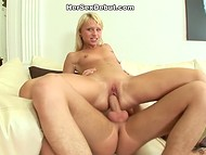 Lustful Russian babe with brackets got her smooth pussy severely drilled