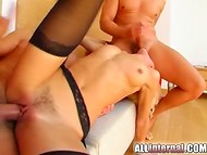 Two lustful males having a threesome with slender tart and spraying hot jizz in her cunt 9