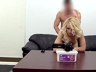 Naughty agent fucked the bashful young girl and came inside her rosy pussy