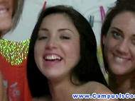 Three frolicsome first-year students engaged in pussy licking in the dormitory room 10
