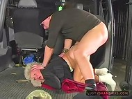 Blonde granny fell into the hands of crazy man, who ripped her pantyhose and hammered in the garage