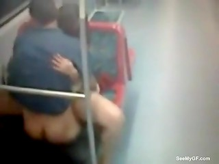 Young people decided to fuck in the empty subway car unsuspecting the presence of the hidden camera