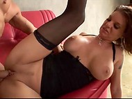 Muscled man screwed holes of the MILF in fashioned stockings and released load of cum on the tits 11