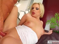 Blonde-haired flapper got fucked by two naughty chasers till the creampie