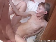 Provoking skinny doll from Russia feels handsome stranger's sperm inside the pussy 10