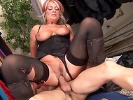 Mature flapper slides her panties aside to put young partner's cock inside the wide cunt