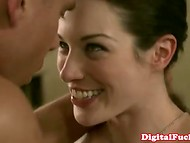 Sweetie with porcelain skin is delighted by her ardent sexual act with gallant partner 8