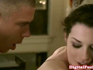 Sweetie with porcelain skin is delighted by her ardent sexual act with gallant partner 9