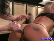 Two excited lesbians have sexual action on the small bar floor in the absence of visitors 6
