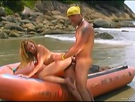 Tanned macho fucked the teenage mermaid's butthole on the deserted beach