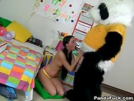 Panda prepared the most important birthday gift for cute brunette that became quite mature 6