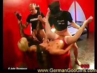 Two vicious trollops from Germany got fucked by a crowd of dirty-minded ejaculators