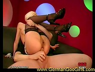 Lustful German flapper's twat could receive two fucksticks simultaneously during group banging 4