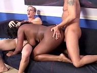 Curvaceous contractor with dark skin was fucked by a few lazy workers during the break 8