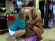 Three lesbian dames wouldn't spend this day without dirty games in the lingerie store 6