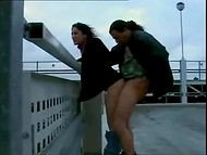 Man brought Turkish cutie on the roof of the building to fuck her with a view of the bustling crossroads 9