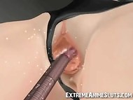 Maddening tentacles of incredible monster wound round the busty cutie's body and humiliated all her slits 8
