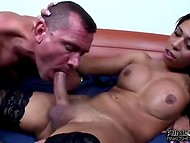Two black-skinned transsexuals bring unforgettable delight to the white fan of exotic sex 8