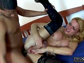 Blonde-haired shemale organized anal entertainments with handsome dark-skinned boy