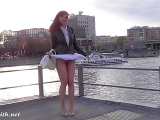Seductive doll's upskirt view is exposed in a variety of erotic scenes recorded in public
