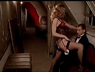 Beautiful showgirl in stockings has to fuck powerful cabaret visitor to save her job 4