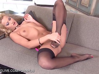 Solo scene by Serbian knockout Cherry Kiss that masturbates her shaved twat with shoe and dildo