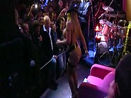 Unforgettable performance on stage by sexy Slovenian coquette in the club full of excited visitors