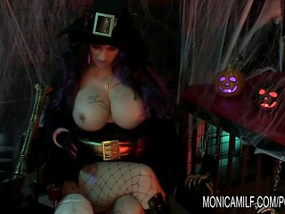 Awesome Halloween celebration in Norway with witch Monica Milf and her wild guest