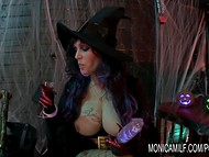 Awesome Halloween celebration in Norway with witch Monica Milf and her wild guest 6
