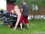 Riding lawn mower busty Norwegian Monica Milf gets interested in her colleague 10
